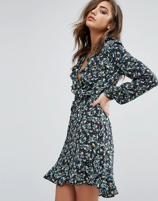 Miss Selfridge miss Selfridge Floral Ruffle wrap tea Dress $77 thestylecure.com