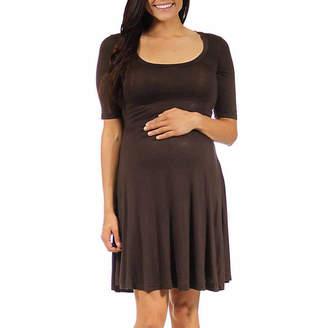 24/7 Comfort Apparel Geometric A-Line Dress-Plus Maternity