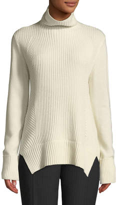 Elie Tahari Tamaya Turtleneck Ribbed Wool-Cashmere Pullover Sweater and Matching Items