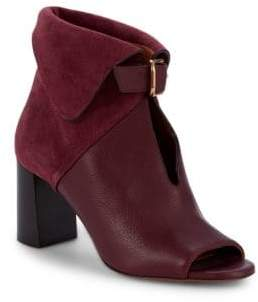 Suede & Leather Foldover Stack Heel Booties