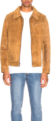 Schott Duke Unlined Rough Suede Jacket in Brown | FWRD