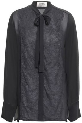 Valentino Pussy-bow Lace-appliqued Silk Crepe De Chine Blouse