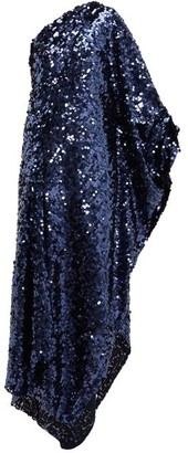 Roland Mouret Ritts One Shoulder Sequinned Gown - Womens - Navy