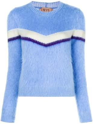No.21 striped furry jumper