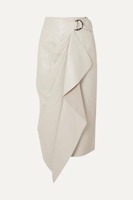 Isabel Marant Fiova Leather Wrap-effect Midi Skirt - Off-white