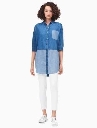 Calvin Klein denim colorblock dolman sleeve shirtdress