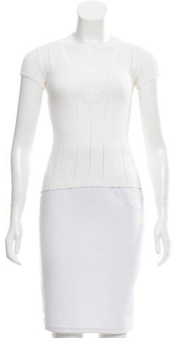 Chanel Logo Embroidered Knit Top