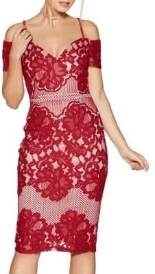 Quiz Cold-Shoulder Floral Lace Dress