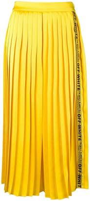 Off-White logo tape pleated midi skirt