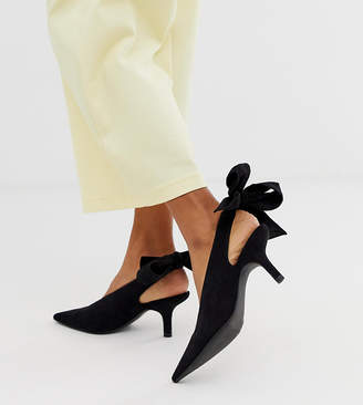 450edbff2bc7 Monki tie back kitten heel pointed shoe in black