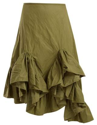 Marques Almeida Marques'almeida - Asymmetric Ruffle Hem Skirt - Womens - Khaki
