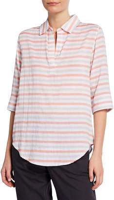 Lilla P Striped Elbow-Sleeve Popover Top