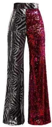Halpern - Sequined Flared Trousers - Womens - Fuchsia