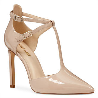 Tayley Pointy Toe T-Strap Pumps $89 thestylecure.com