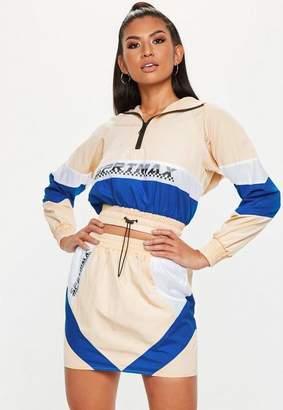 Missguided Nude Colourblock Motocross Shell Suit Skirt