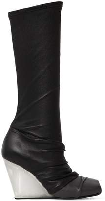 Rick Owens 90mm Stretch Leather & Jersey Boots