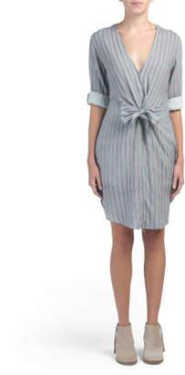 Juniors Vertical Stripe Tie Front Dress