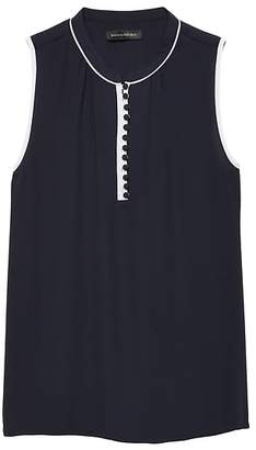 Banana Republic Button-Front Top with Contrast Piping