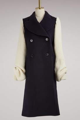 J.W.Anderson Knit-Sleeved Wool Coat