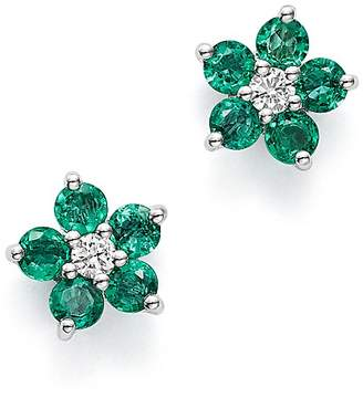 Bloomingdale's Emerald & Diamond Flower Stud Earrings in 14K White Gold - 100% Exclusive