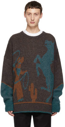 DSQUARED2 Brown and Blue Fin 5 Crewneck Sweater