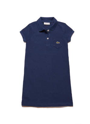 Lacoste Girls' flared dress in solid mini pique cotton