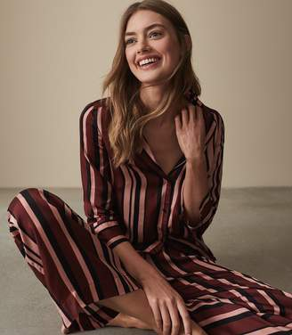 Reiss Tilda - Striped Satin Pyjama Bottoms in Berry