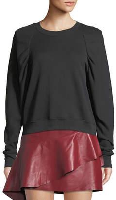 Joie Korbyn Puff-Sleeve Cotton Crewneck Pullover Sweater