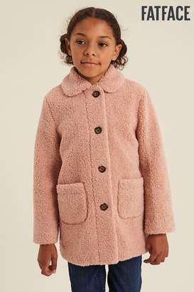 Fat Face Girls FatFace Pink Teddy Coat - Pink