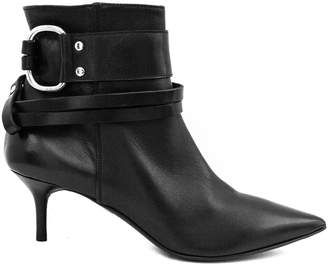 Elena Iachi Black Leather Ankle Boots.