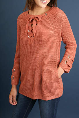 Umgee USA Drawstring V-Neck Sweater