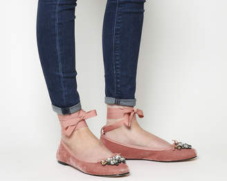 5ae39487c19f Office Frosty Gem Trim Ballet Flats Pink Velvet