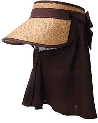 Jeff & Aimy Large Wide Brim Straw Visor Sun Hat for Women UPF 50 Crushable Summer Beach Travel Safari Sunhat Khaki