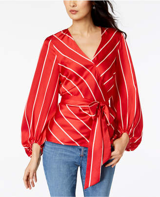 INC International Concepts I.N.C. Striped Wrap Top, Created for Macy's