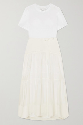 3.1 Phillip Lim Paneled Belted Silk, Cotton And Lace Midi Dress - Ivory
