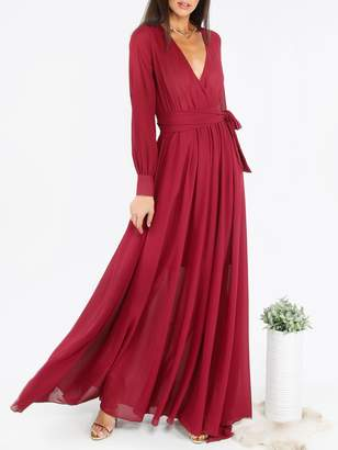 Shein Self Tie Surplice Flowy Maxi Dress