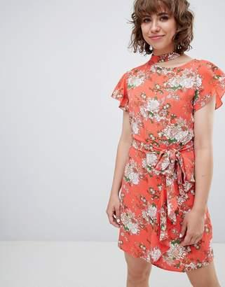Walter Baker Frill Front Floral Print Tea Dress