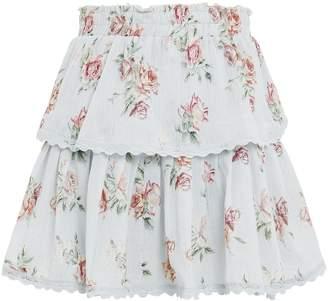 LoveShackFancy Ruffle Floral Mini Skirt