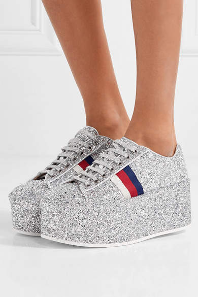 aa8a7c626ec8 Gucci - Glittered Leather Platform Sneakers - Silver detail image