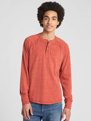 Gap Long Sleeve Marled Henley