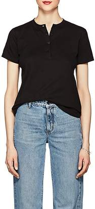 Helmut Lang WOMEN'S CUTOUT-BACK COTTON SHORT-SLEEVE HENLEY