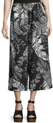 See by Chloe Palm-Print Wide-Leg Crop Cotton Jersey Pants