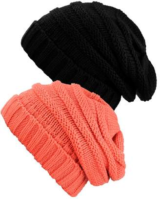 NYFASHION101 Oversized Baggy Slouchy Thick Winter Beanie Hat - 2 Pack,Black/Melange Gray