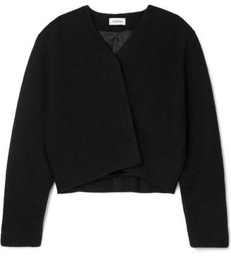 Totême Santos Oversized Cropped Wool Jacket - Black