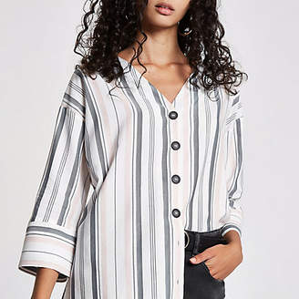 River Island White stripe button front bar back blouse