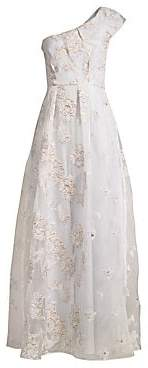 BCBGMAXAZRIA Women's Metallic Organza One Shoulder Gown