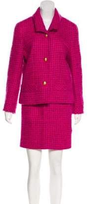 Celine Wool Tweed Skirt Suit