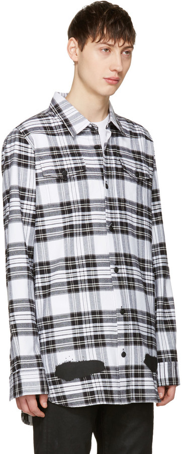 Off-White White Check Diagonal Spray Shirt 4