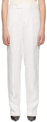 Helmut Lang White Slim Linen Trousers