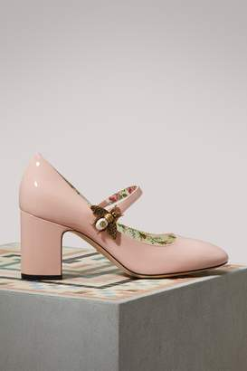 Gucci Patent Leather Mid-heel Pumps with Bee Motif
